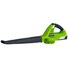 The Greenworks 24602 cordless leaf blower makes maintaining your yard a much easier task. This versatile blower provides a powerful blast of air to move yard clippings, dust and debris for quick cleanup.     The Greenworks 24602 is powered by a lithium-ion battery. The cordless motor provides much quieter operation than noisy gas-powered blowers and doesn't require hauling out, or tripping over, long extension cords.