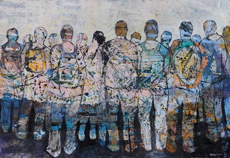 Jenny Grevatte - Waiting in Line  http://www.goldmarkart.com/all-art/all-artists/jenny-grevatte/waiting-in-line.html