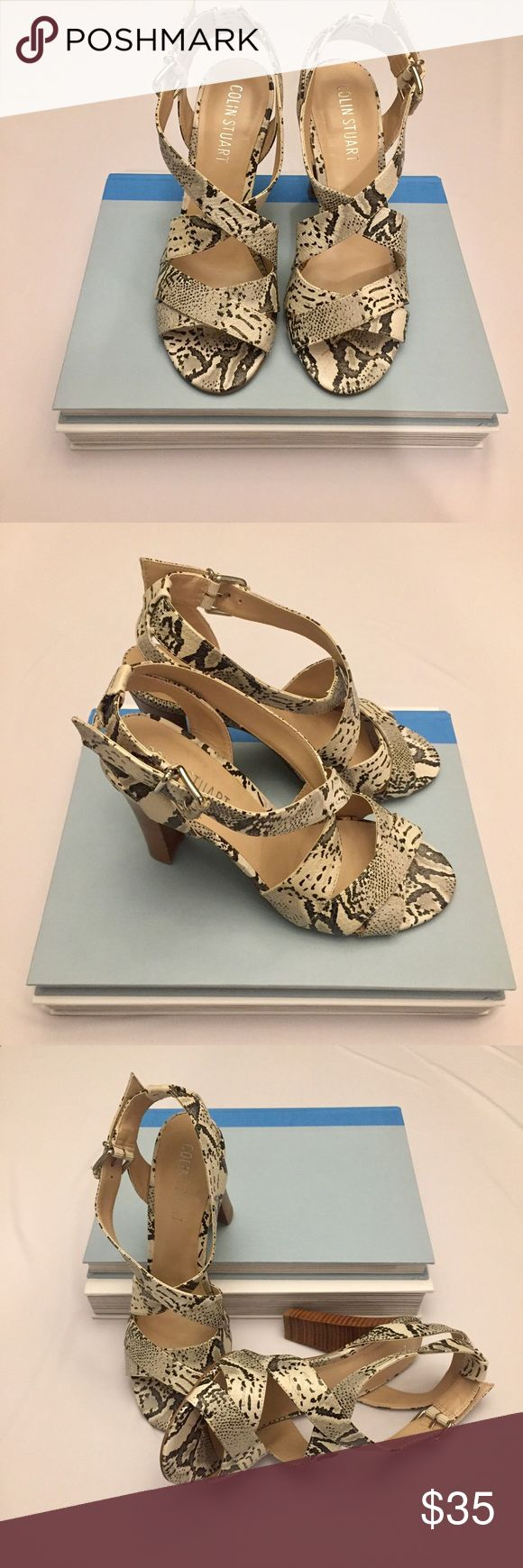 "Colin Stuart Snake Print High Heel Sandals Sz 7.5 Nice pair of Colin Stuart leather high heel sandals in a snake skin pattern.  These are in excellent preowned condition.  Heel height is 4"". Colin Stuart Shoes Sandals"