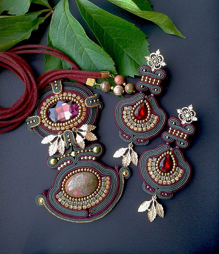 Soutache set with Unakite made in soutache techniques red, dark green, gold…