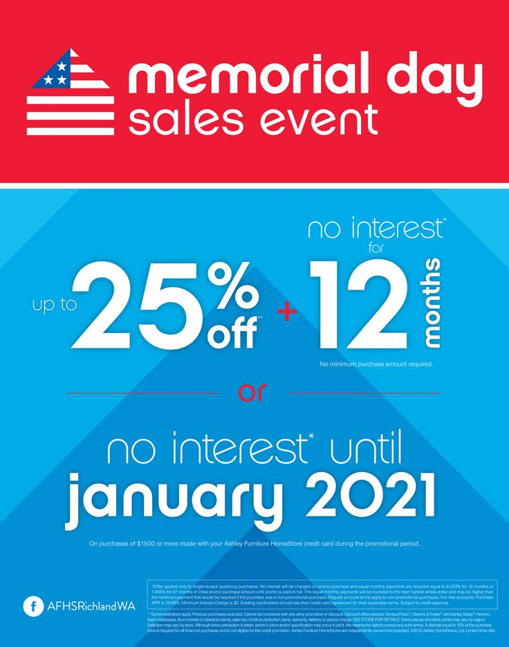 Memorial Day Sales Event. | Get Up To 25% Off Plus 12 Months No