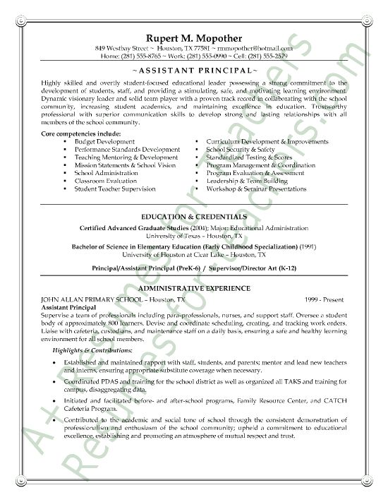 This administrator resume example is unique and includes a list of core competencies, a profile, and his strengths, which immediately show the reader that this assistant principal is qualified