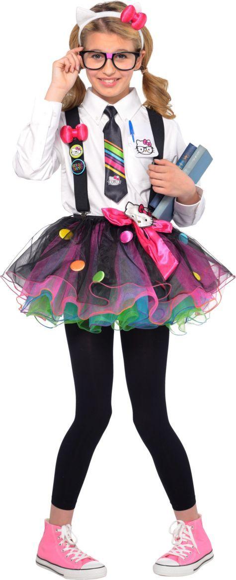 Girls Hello Kitty Nerd Costume - Party City