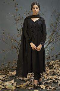 Darkest Black Linen Suit with Churidar