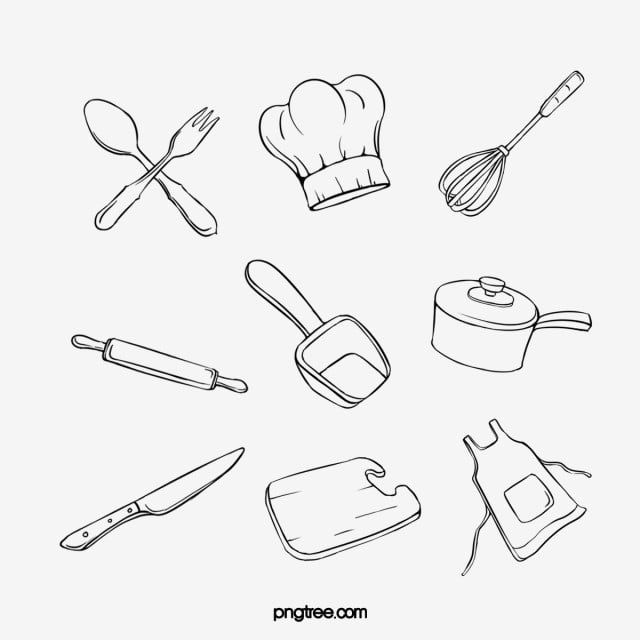 Hand Painted Minimalist Black Line Art Kitchen Utensils Combination Chef Hat Tableware Kitchen Supplies Png Transparent Clipart Image And Psd File For Free D Kitchen Art Baking Logo Design Kitchen Icon