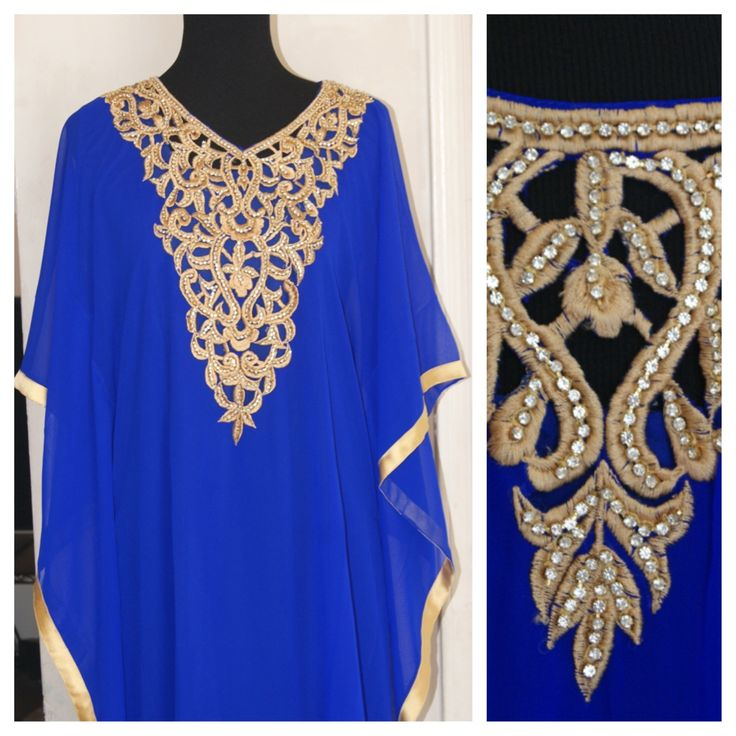 Electric Blue Kaftaan with beautiful Cut work. Call 704-910-3645 to order.