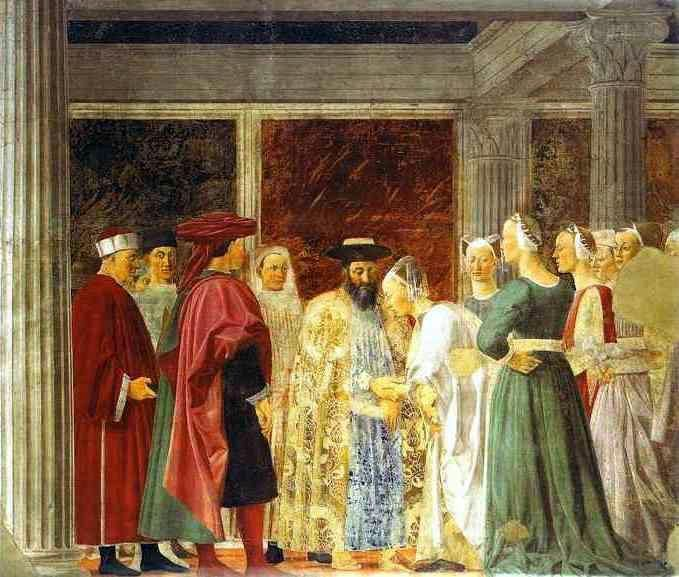 The Legend of the True Cross. King Solomon meeting with the Queen of Sheba