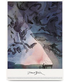 James Blake's 'The Colour in Anything' tour poster (2016). Quentin Blake illustrated the album cover and other promotional material for the third album by Mercury prize-winning songwriter James Blake, The Colour in Anything