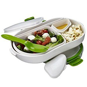 Lakeland Leak-Proof Lunch Box with Compartments, 900ml - White & Green: Amazon.co.uk: Kitchen & Home