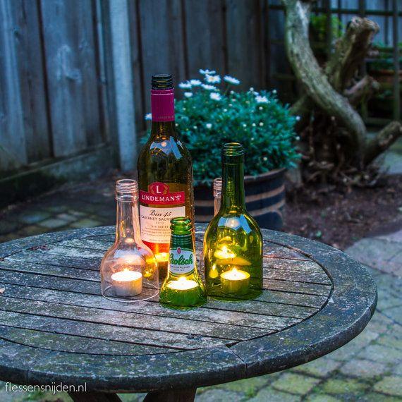 Windlicht van gebruikte wijnfles van Flessensnijder op Etsy