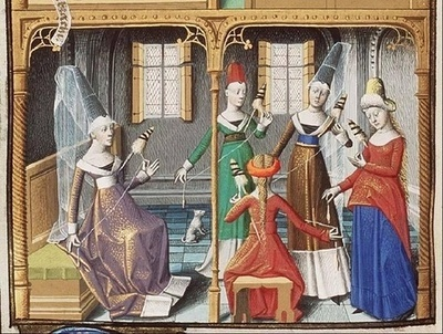 Fifteenth-Century Spinning Class.Maïtre François, Christian Customs: A Group of Women Spinning (Virtuousness), from Saint Augustine, La Cité de Dieu of Jacques dArmagnac, Duke of Nemours, 1478-80, The Hague, MMW, 10A 11, fol. 69v, Koninklijke Bibliotheek, The Hague, Netherlands. Image Source