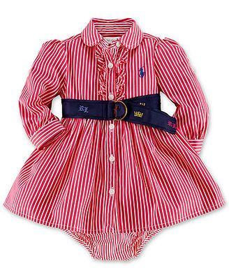 Ralph Lauren Baby Girls' Striped Belted Shirtdress