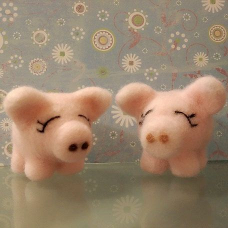 Needle Felted Miss Piggy cerdo cerdo miniatura de fieltro de