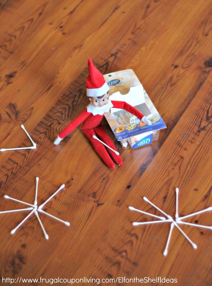 Elf on the Shelf Ideas –  Elf Makes Q-Tip Snowflakes plus daily idea and FREE Elf on the Shelf Printable Notes.