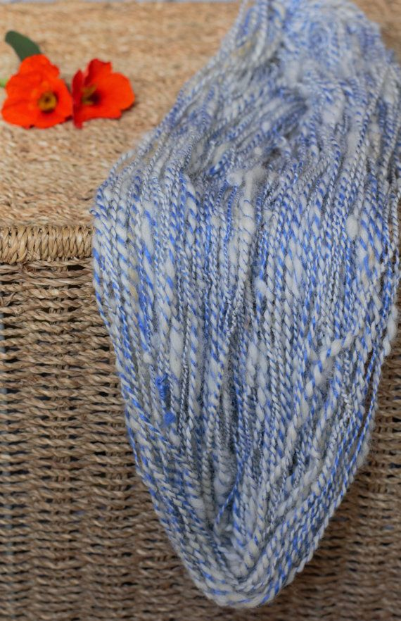 Hand spun art yarn clouds on the blue sky 100 by DreamsSanctuary
