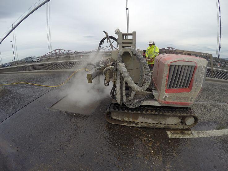 Corejet Water Jet equipment cuts surface.