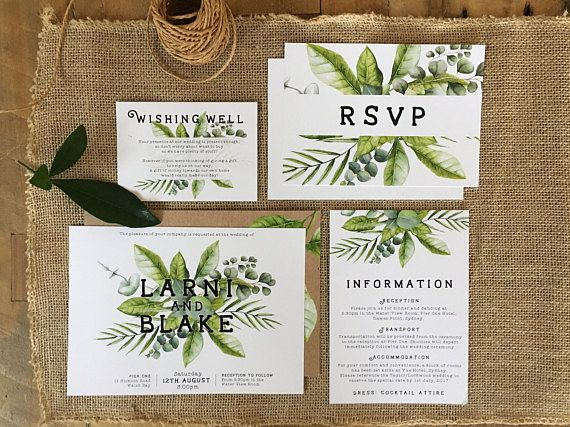 Botanical Wedding Suite White Green Horizontal Whimsical