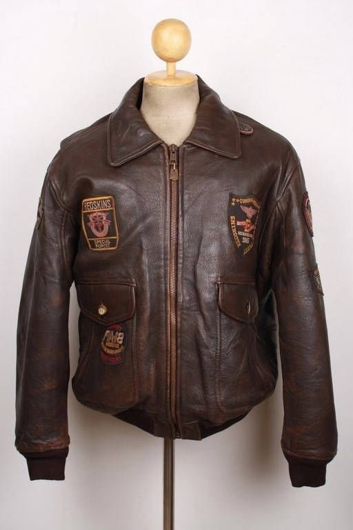 REDSKINS Brown Leather AIR FORCE Jacket MILITARY FLIGHT AVIATOR Size Large