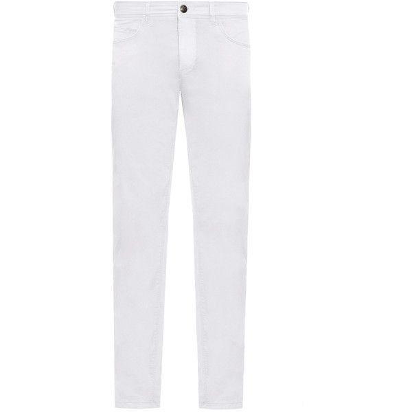 Fay - Five-pocket Trousers ($245) ❤ liked on Polyvore featuring men's fashion, men's clothing, men's pants, men's casual pants, white, mens 5 pocket pants, mens embroidered pants, mens five pocket pants, mens white pants and mens zip off pants