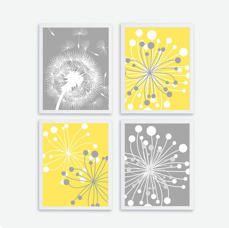Printable Flower set of 4, Instant Download, Flower Wall Art Decor, Baby, Kids Nursery Art Print Decor Baby Room,Yellow Gray Decor Dandelion
