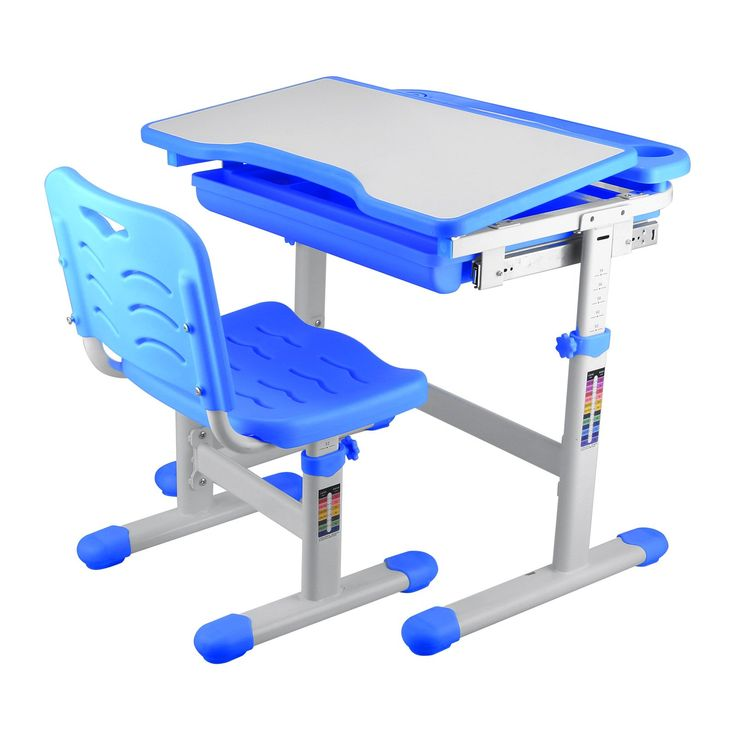 Mophorn Height Adjustable Children Desk and Chair Set Adjusted from 21Inch to 30Inch Kids' Desk and Chair Sets Children's Height Adjustable Study Desk for Kids Work Station (Blue)