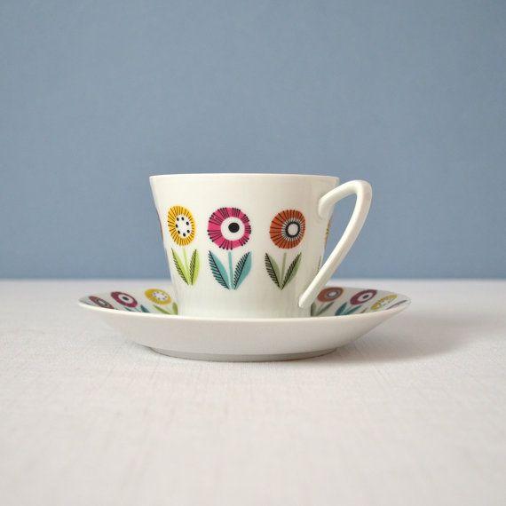 Vintage Upsala Ekeby Ignis Bellis Cup and Saucer on Etsy, $35.00