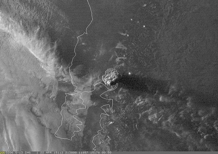 Satellite image of the plume, 2015 eruption National Oceanic and Atmospheric Administration - http://www.wired.com/2015/04/chiles-calbuco-unleashes-dramatic-explosive-eruption/ GOES-13 satellite image of the plume from the April 22, 2015 eruption of Calbuco