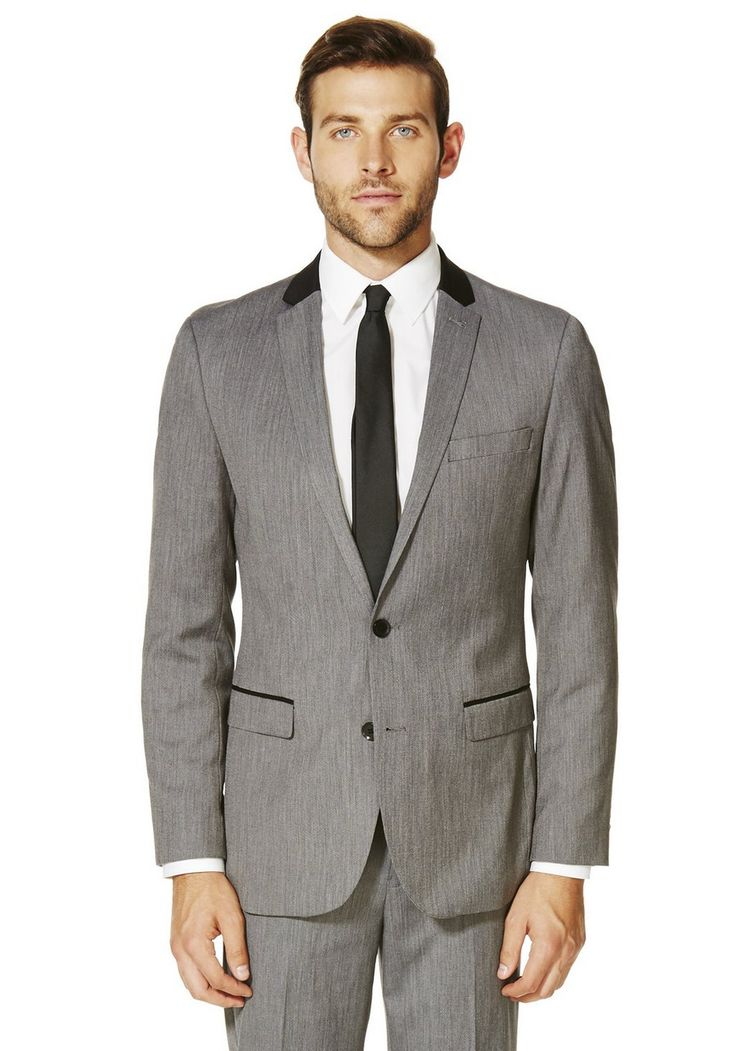 Clothing at Tesco | F&F Grey Peak Lapel Slim Fit Tuxedo Jacket > outfit-builder > Groom & Ushers Suits > Wedding Shop