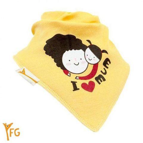 Baby Bandana Bib - Yellow I Love Mum – Baby Luno