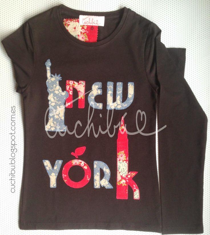 Camisetas newyork decoradas con aplicaciones de tela for Aplicaciones decoradas