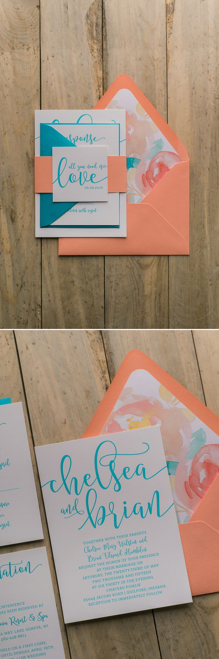 Fabulous Teal and Coral Watercolor Floral Handwritten Wedding Invitations. CHELSEA Floral Collection by Just Invite Me