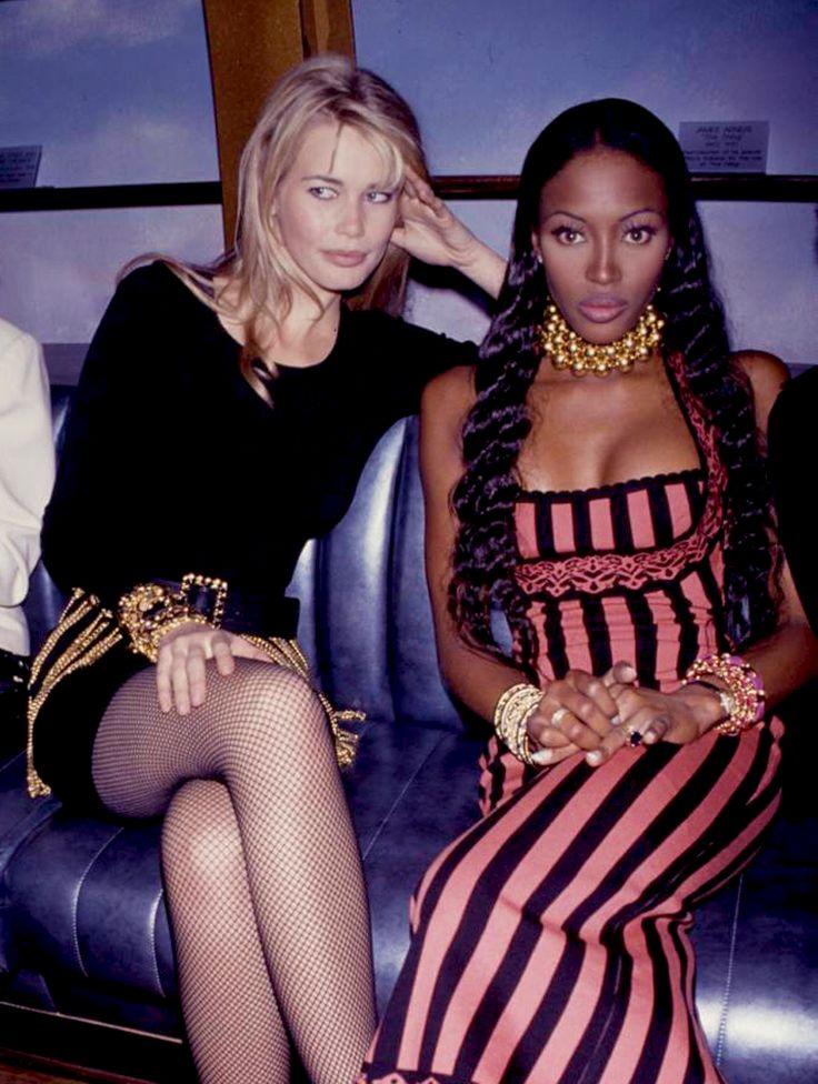 Candid: Claudia Schiffer & Naomi Campbell