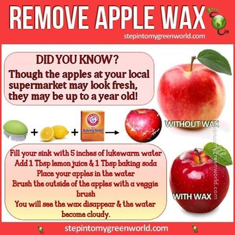 ☛ Do YOU use a food wash? How about making your own? FOR AN APPLE WAX REMOVER RECIPE: http://www.stepintomygreenworld.com/healthyliving/around-the-home/homemade-toxic-apple-wax-remover/ ✒ Share | Like | Re-pin | Comment