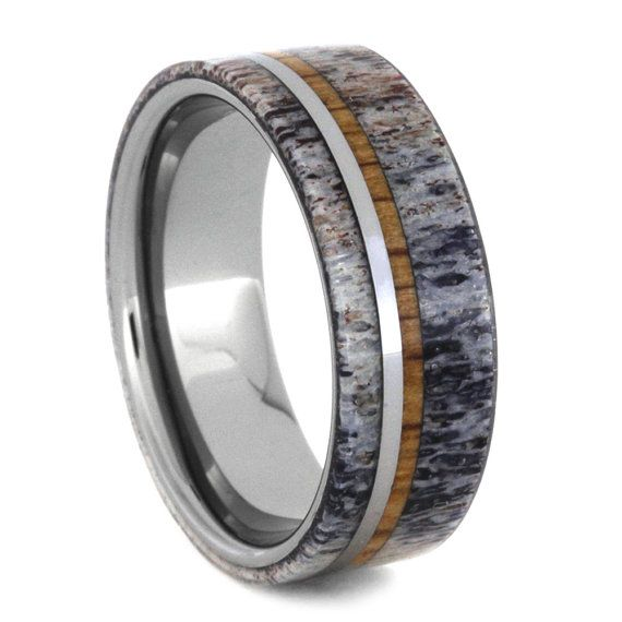 Mens Tungsten Ring Deer Antler Wedding Band With by jewelrybyjohan