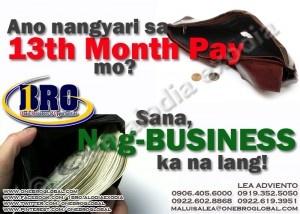 Ano nangyari sa 13th month pay mo? Join 1Bro Global and earn extra income!