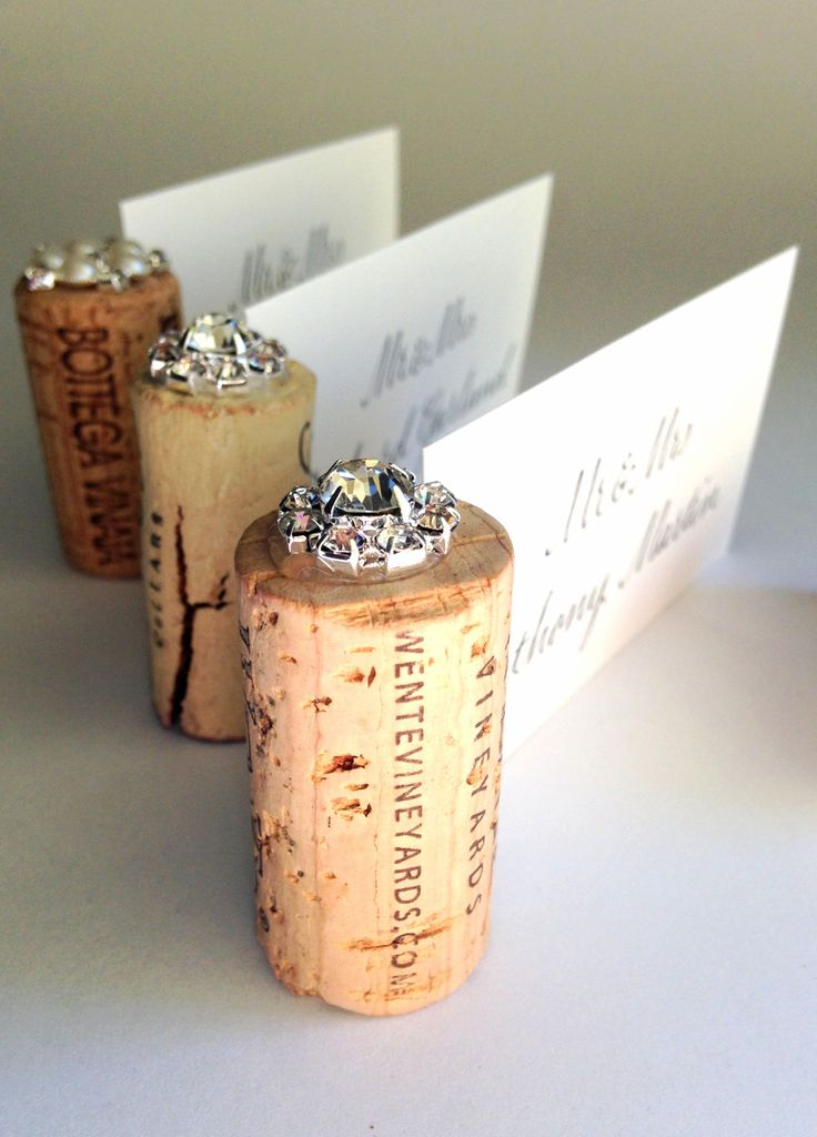 gemstone vertical cork wedding place card holder