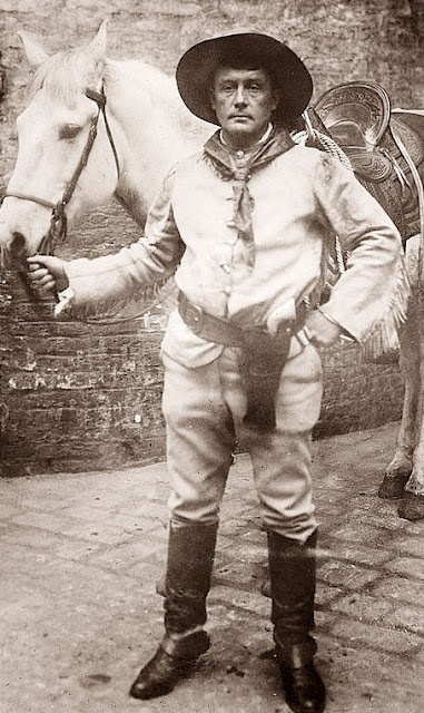 Sir Genille Cave-Brown-Cave was from England, came to the US, became a real cowboy, then a championship rodeo star. Then his dad died, and he became a Baron. He returned to England, then back to the US to be a Evangelist.