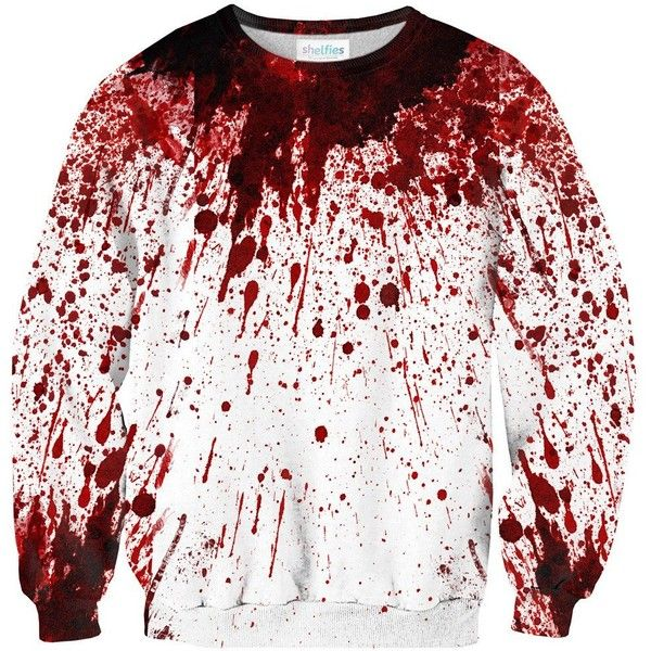 Blood Splatter Sweater (€38) ❤ liked on Polyvore featuring tops, sweaters, shirts, sweatshirts, polyester shirt, splatter shirt, shirt top, low top and white shirts