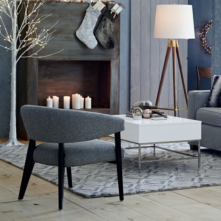 Lacquer Storage Coffee Table Gray Living