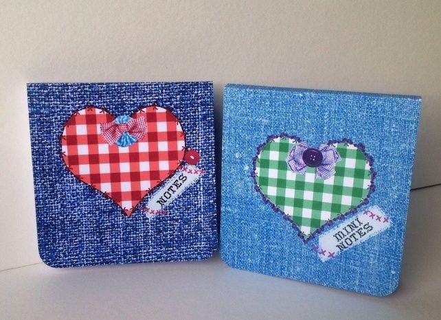 Notebooks Set of Two,'Gingham Hearts and Denim,Handmade Notebooks 2pk £2.90 Slightly bigger version of smaller mini Pk