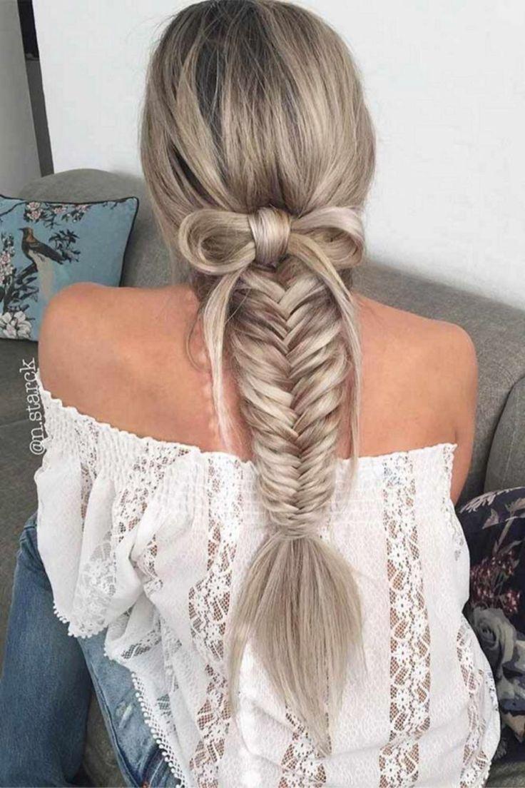 fishtail braid + bow   unique braided hairstyles