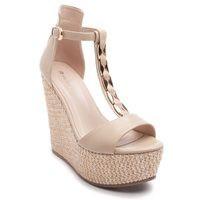 High heel Τ-strap platforms in beige colour with a gold decorative detail.