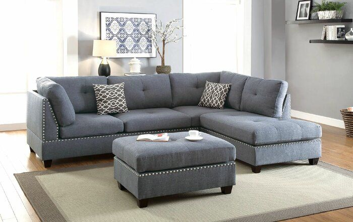 Charlemont 104 Reversible Sectional With Ottoman In 2020 Living Room Decor Modern Living Room Sectional Fabric Sectional Sofas