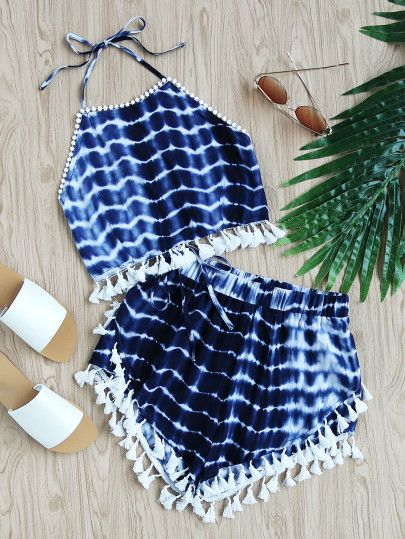 Tassel Trim Tie Dye Halter Top And Shorts Co-Ord