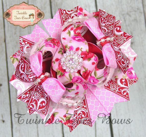 Red and Pink Roses Stacked Boutique Hair Bow