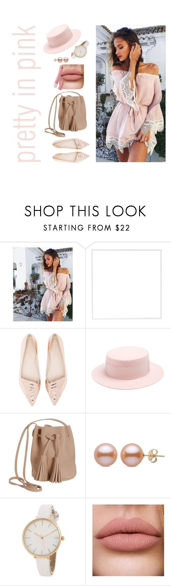 """""""pretty in {pink}"""" by traylor-ketchup ❤ liked on Polyvore featuring Menu, Sophia Webster, Federica Moretti, Humble Chic and Revlon"""