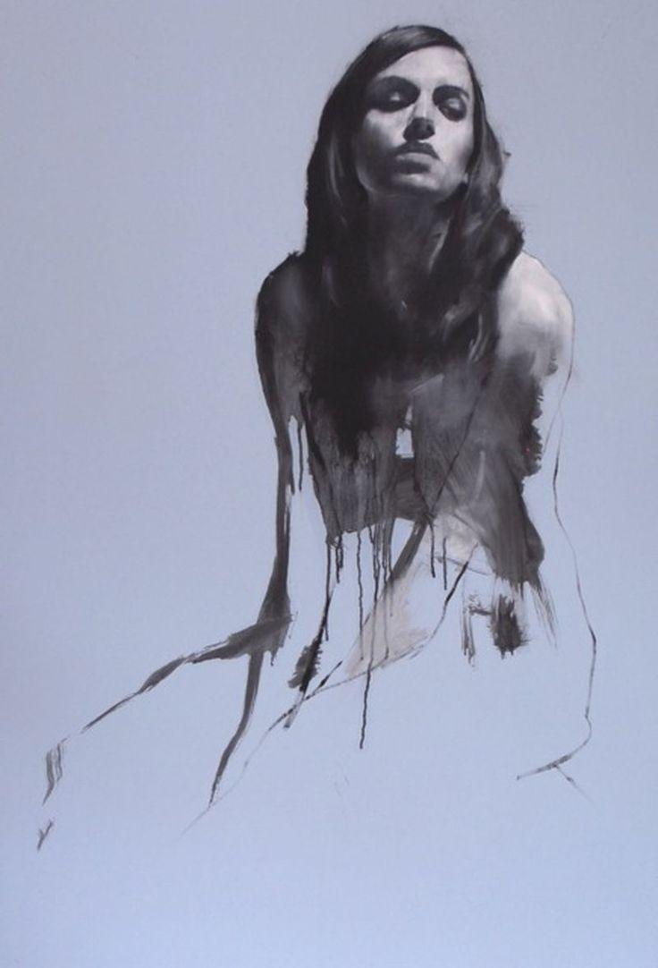 """""""Natalie Kneeling"""" by Mark Demsteader (British, b. 1963), female figure oil on board. markdemsteader.com"""