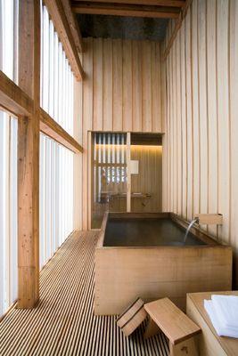wellness interior design inspiration bycocoon.com | sauna | minimalist | modern inox bathroom taps | rain shower sets | freestanding bathtubs | create your own spa and sauna with COCOON | Ginzan Onsen Fujiya - Kengu Kuma