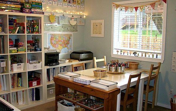 SWOOOON!!! #homeschool schoolroom with bookshelves and natural light