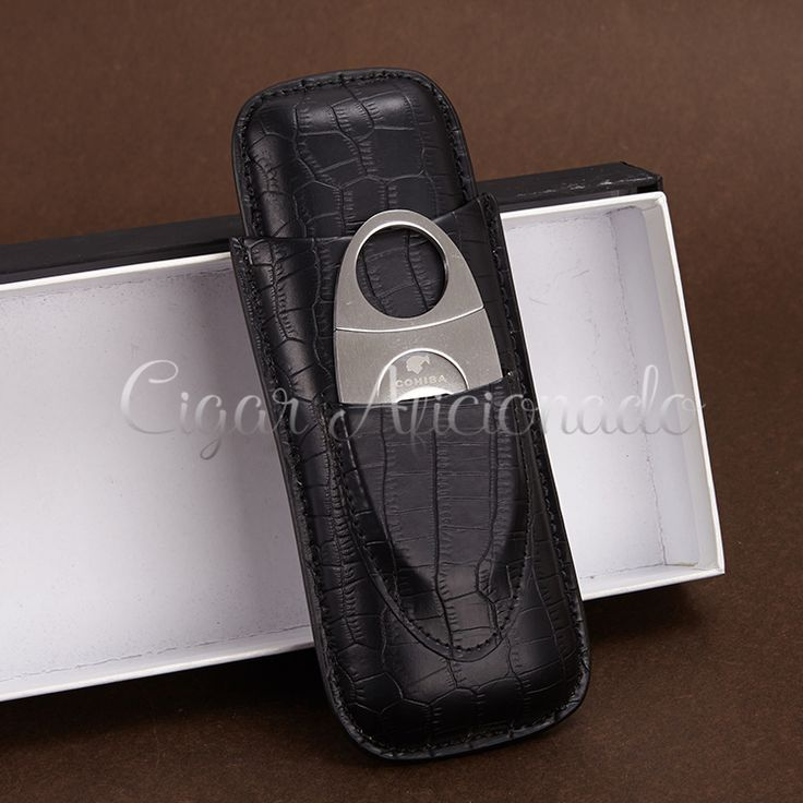 COHIBA Portable Black Croco Embossed Leather Cigar Case Travel Holder 2 Tube W/ Sharp Dual Blades Stainless SteelCigar Cutter